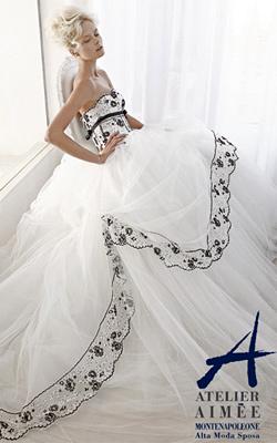Сватбени рокли с пера и черни бродерии стават хит