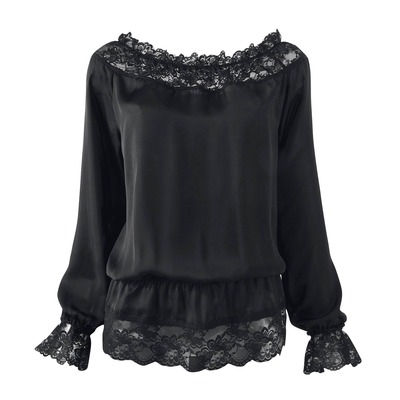 Дамска блуза с дълги ръкави VOTRE MODE от дантела и велур