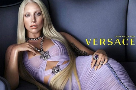 Lady Gaga for Versace without make-up
