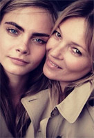 Cara Delevingne and Kate Moss for the campaign of Burberry's fragrance