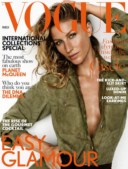 През Март: Жизел Бюндхен на корицата на британския Vogue
