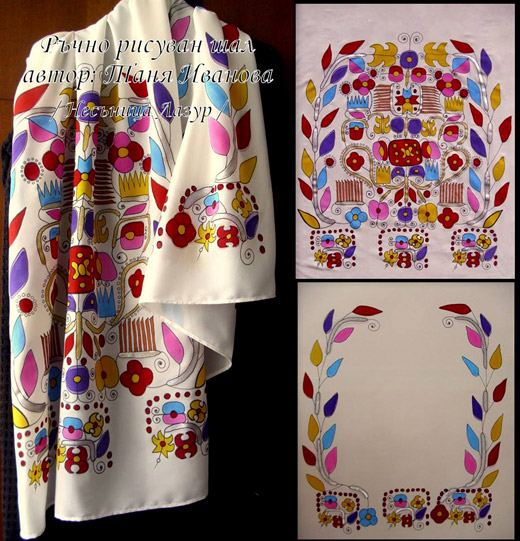 Bulgarian folklore in the fashion: Tanya Ivanova's painted scarves