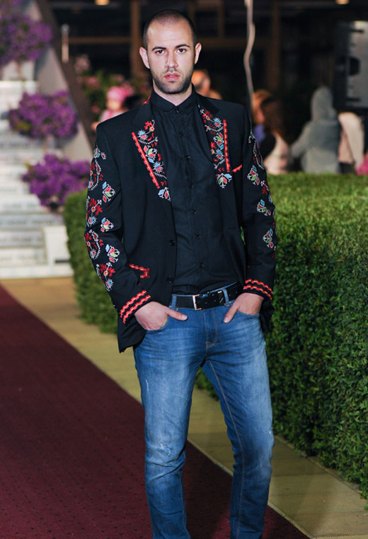Men's suit jackets and ladies' garments with traditional Bulgarian embroidery for Spring-Summer 2015