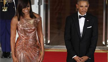 Мишел Обама в рокля на Versace за последната си вечеря в Белия дом