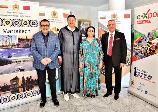 Участниците в пресконференцията – проф. Любомир Стойков, Мохамед Хмидуш, Н.Пр. г-жа Закия Ел Мидауи и Аспарух Карастоянов (от ляво надясно).