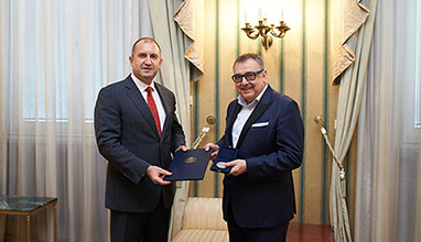 Head of state Rumen Radev awards Prof. Lubomir Stoykov with presidential honorary sign
