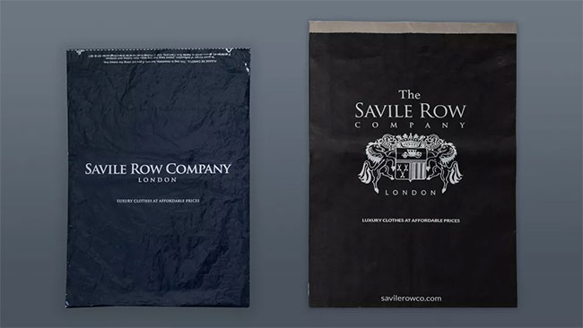 The Savile Row Company is ethical brand with 100% Recyclable and compostable shirt packaging