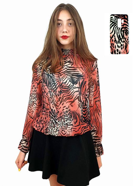 Шифонена блуза в анималистичен принт