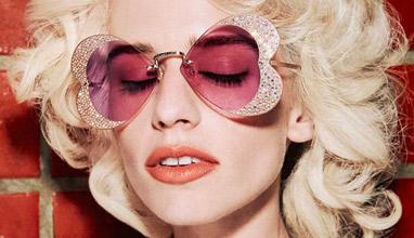 Дебютна колекция на GUCCI Холивуд завинаги - слънчеви очила, обсипани с кристали