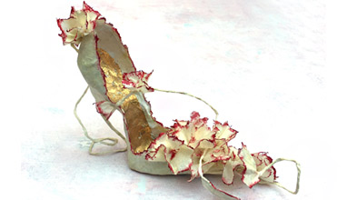 Danish designer Violise Lunn creates fantasy paper shoes and dresses