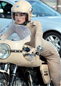Keira Knightley Mounted Ducati for Chanel photosession