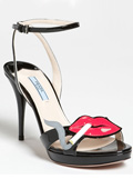 Prada created high heel sandals with smoking lips